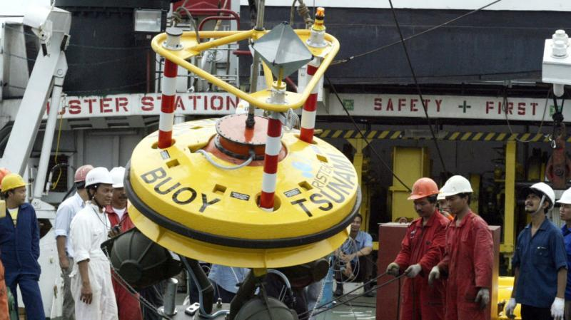 This tsunami buoy undergoing inspection in Indonesia is part of the Indian Ocean tsunami warning system introduced after the 2004 tsunami