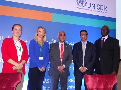 (from left) Panellists Nina Stuurman, IOM; Katie Peters, ODI; Hamza Said Hamza, Somalia; Abdessalam Ould Ahmed, FAO; Banak Wal, South Sudan