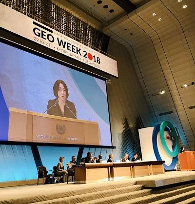 UNISDR head, Mami Mizutori, speaking at the GEO-XV Plenary