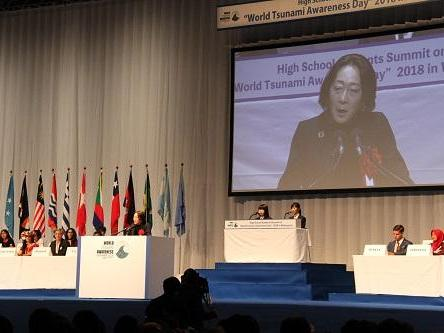 UNISDR head, Mami Mizutori, addressing the High School Students Summit for World Tsunami Awareness Day