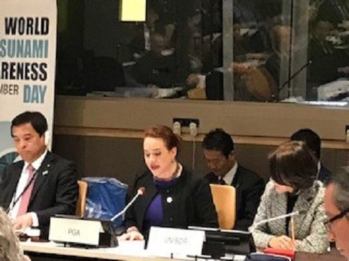 María Fernanda Espinosa Garcés, President of the UN General Assembly, opening the tsunami panel discussion at UN HQ in New York.