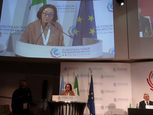 UNISDR head, Mami Mizutori, addressing the closing ceremony today of the European Forum for Disaster Risk Reduction