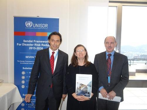 At today's launch: (from left) Permanent Representative Vojislav Šuc, Slovenia, Kirsi Madi, UNISDR, and Rudolf Müller, OCHA
