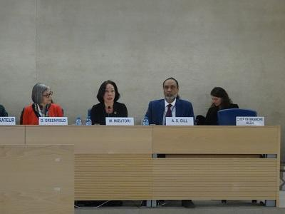 UNISDR chief, Mami Mizutori, speaking at the Human Rights Council