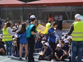 Children evacuate Gordon Elementary School in Tel Aviv tsunami drill