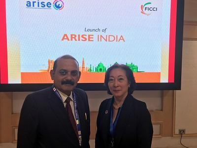 Mami Mizutori at launch of ARISE India with Deputy Secretary-General of the Federation of India Chambers of Commerce and Industry, Nirankar Saxena