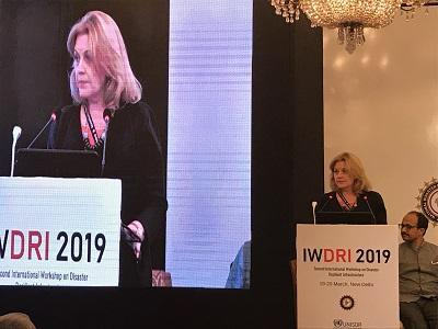 Loretta Hieber Girardet, head of the UN Office for Disaster Risk Reduction Regional Office for Asia-Pacific, speaking at the closing ceremony today in New Delhi