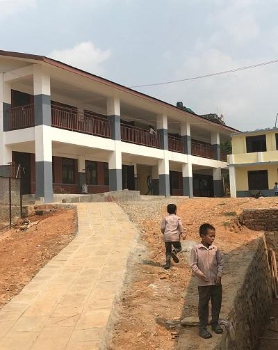 A reconstructed school which lost ten classrooms during Nepal's 2015 earthquake