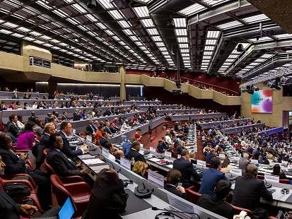 A wide angle view of the plenary session to declare open the Global Platform for Disaster Risk Reduction