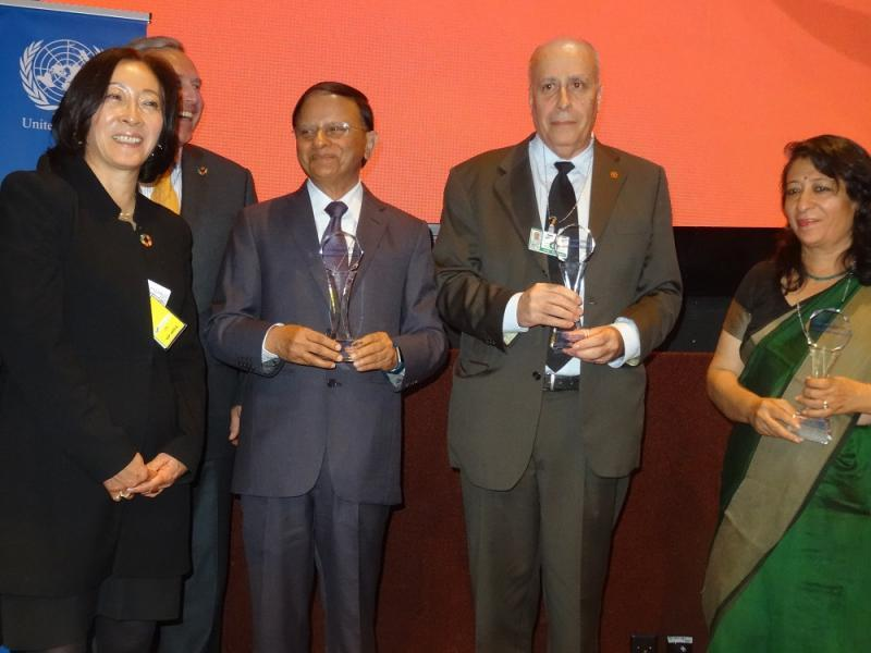 (From left) head of UNDRR, Mami Mitzutori with Sasakawa Award winners  Dr. PK Mishra, Additional Principal Secretary to the Prime Minister of India, Sidnei Furtado, Director, Dept of Civil Defence, Campinas, Brazil, and Bijal Brahmbhatt, Director, the Mahila Housing SEWA Trust, India