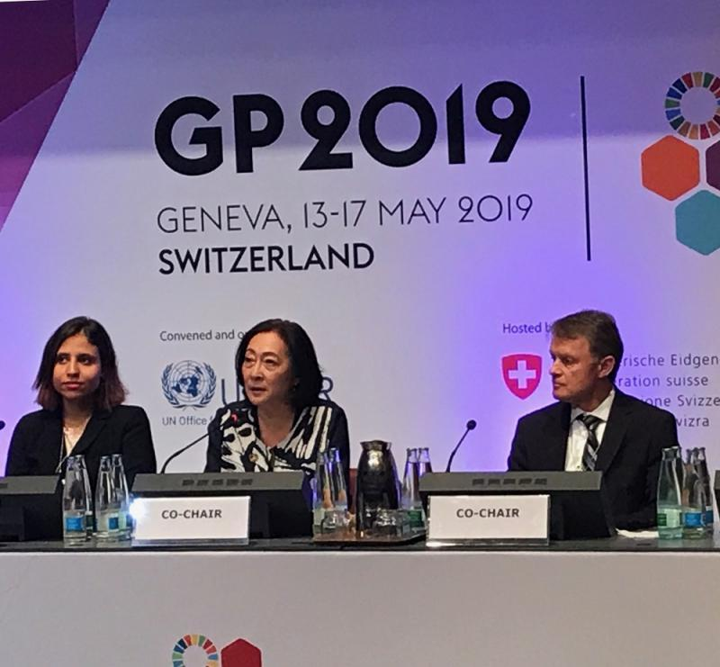 At the closing ceremony of the Global Platform, Marwa Elmenshawy, Stakeholder Engagement Mechanism, and Global Platform co-chairs, Mami Mizutori, UNDRR, and Manuel Sager, Secretary of State, Switzerland.