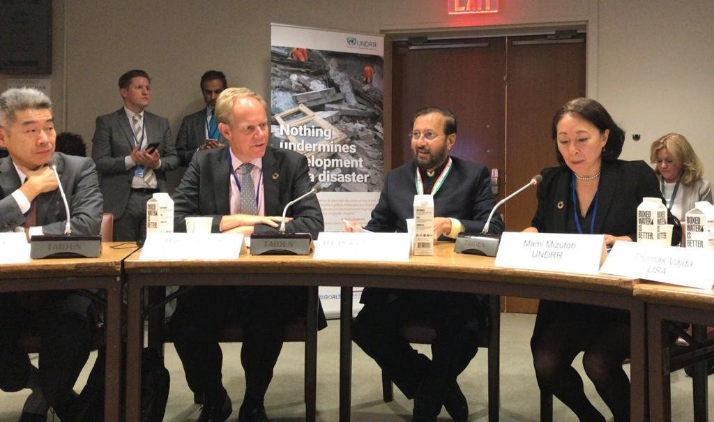 Prakash Javadekar, India's Minister for Environment and Climate Change (centre), Matthew Rycroft, permanent Secretary for the UK Department for International Development (left) and Mami Mizutori, Head of the UN Office for Disaster Risk Reduction at the coalition event in New York.