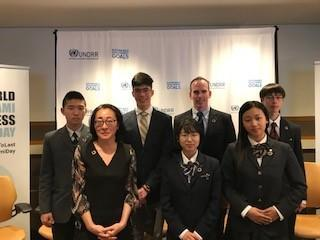 Mami Mizutori with five young representatives from the High School Student Summit and Marc McDonald from the AARP Foundation at the Intergenerational Dialogue.