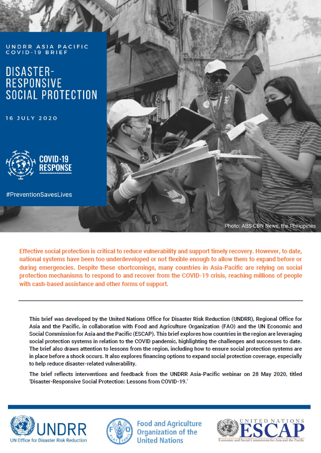 Cover of COVID19 Brief on social protection