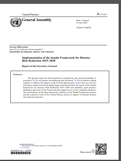 Report of the Secretary-General on the Implementation of the Sendai Framework for Disaster Risk Reduction 2015-2030