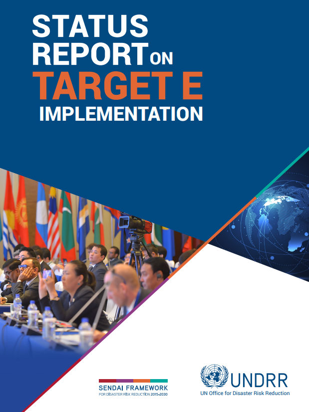 Report cover for Status report on target E implementation with image and title text