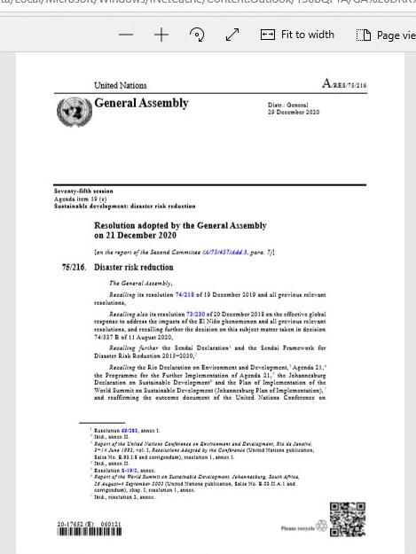 Disaster Risk Reduction: resolution / adopted by the General Assembly
